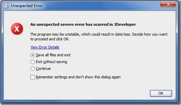JDeveloper Error dialog image