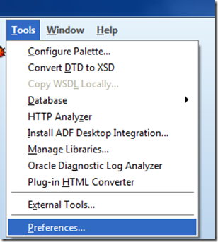 JDeveloper Tools Preferences image