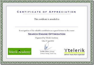 Certificate of appreaciation