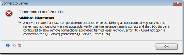 SQL Server 2008 error - network image