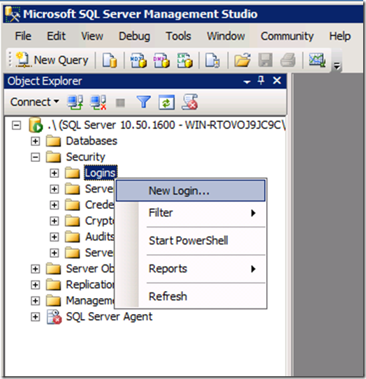 Management Studio - create new Logins image