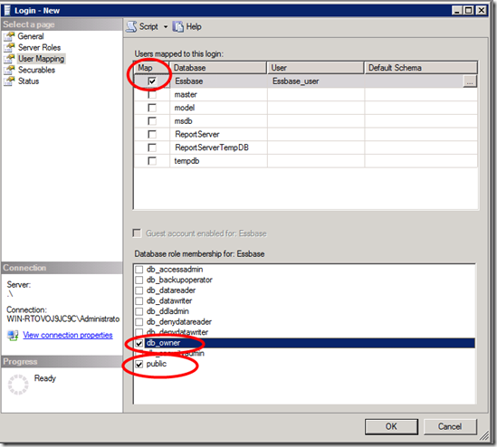 SQL Management Studio -User mapping