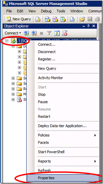 SQL Management Studio - Properties